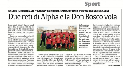 Un'altra vittoria per l'ASD Don Bosco 2000 categoria Juniores