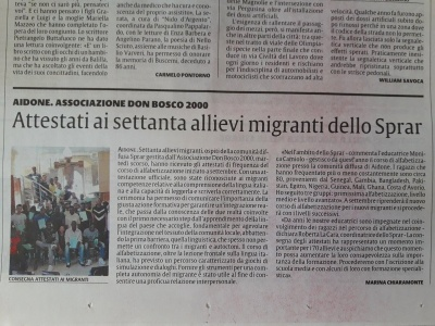 Attestati ai 70 allievi migranti dello SPRAR