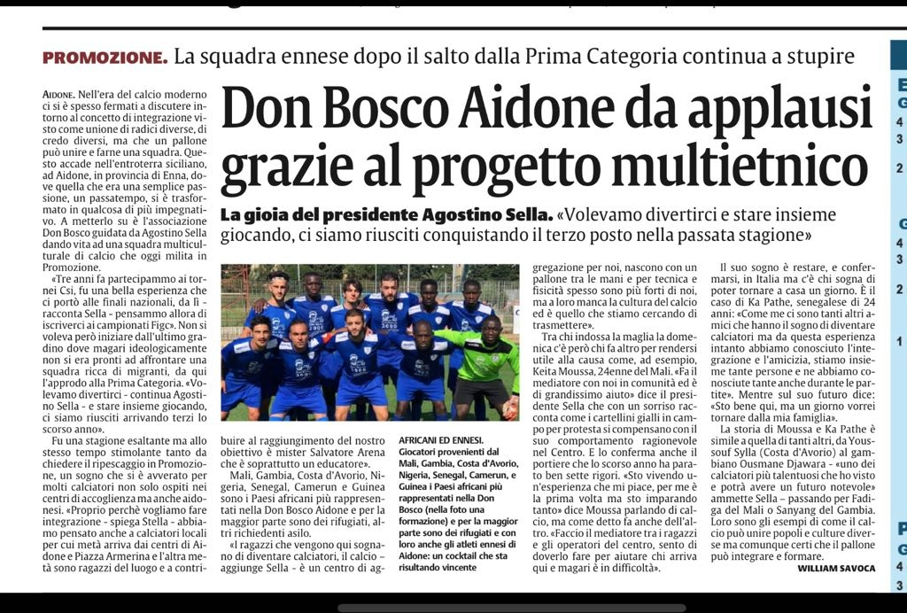 ASD Don Bosco 2000: un progetto multietnico da applausi!